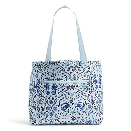 Vera Bradley Women's Recycled Lighten Up ReActive Drawstring Family Tote Totes, Mint Sea Life, One Size