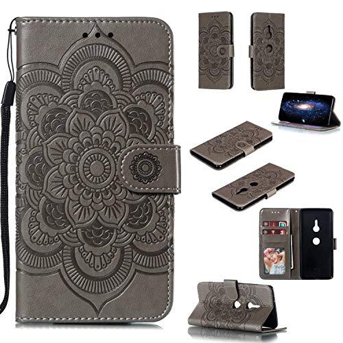 Capa para Xperia XZ3, YINCANG com estampa de flor de sol em relevo couro PU macio TPU silicone interno compartimentos para cartão magnético Flip Case para Sony Xperia XZ3 6 polegadas - Cinza