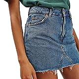 Women Black Blue Solid Casual High Waist Pencil Denim Skirts Summer High Street Pockets Button All-Matched JUPCs Skirt