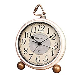 Table Clock Non-Ticking, Metal Vintage Alarm Clock Battery Operated Analog Silent Table Desk Clock Beside Clock with Quartz Movement Bedroom Living Room Kids (White-A)