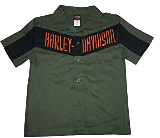 HARLEY-DAVIDSON Little Boys' Interlock Twill Short Sleeve Shirt, Green 1073519