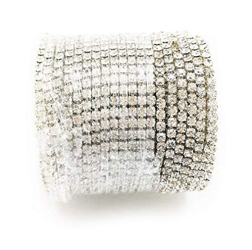 yueton 11 Yards 2MM Crystal Rhinestone Close Chain Trimming Claw Chain Jewelry Crafts DIY (Silver)