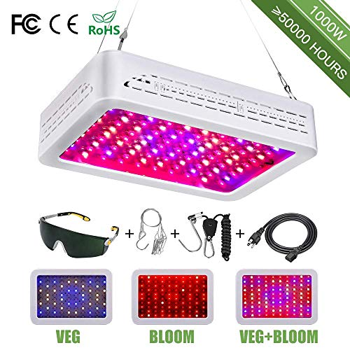LED Grow Lights, 1000W Full Spectrum Powerful Panel Plant Light with Bloom and Veg Switch for Professional Indoor Plants [2019 Upgraded] (1000w)