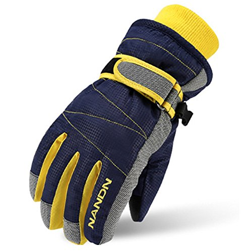 Magarrow Winter Warm Windproof Outdoor Sports Gloves For Children and Adults (Dark Blue, Small (Fit kids 6-7 years old))