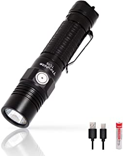 ThruNite TC15 2300 High Lumens Ultra-Bright Flashlight, USB Rechargeable LED Handheld Flashlights, CREE XHP 35 LED, Indoor/Outdoor (Camping, Security and Emergency Use) Cool White - Black CW