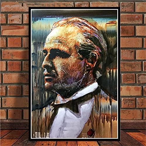 Arte De Lienzo 50x70cm Sin marco La película del padrino Marlon Brando Al Pacino póster cuadro de arte de pared para decoración del hogar