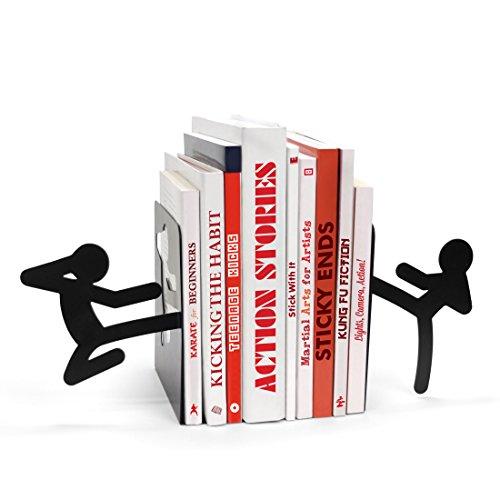 MUSTARD - Stickmen Bookends I Buchstütze aus Metall I lustige Stütze für Bücher, Comics, DVD's I besonders I Geschenkidee für Jungs I Buchenenden I Bücherregal I Dekoration I Strichmännchen - Schwarz