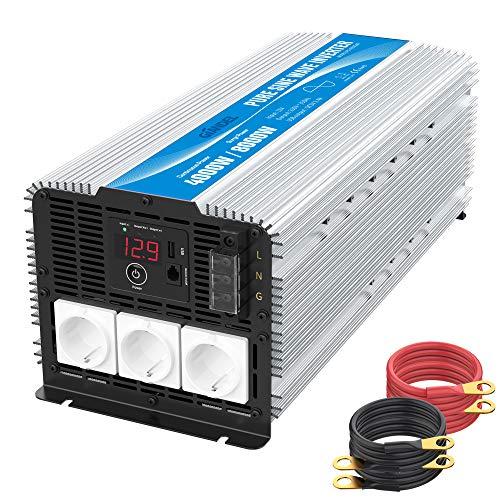 4000W Heavy Duty Reiner Sinus Wechselrichter Spannungswandler 12V 230V Power Inverter Wohnmobil mit 3 Steckdosen mit Fernbedienung 2.4A USB und LED-Anzeige GIANDEL