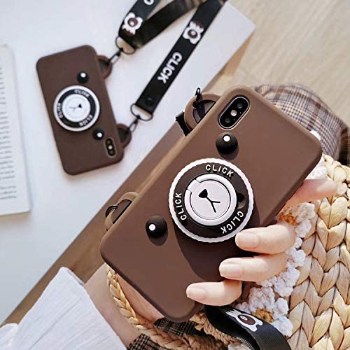 Ultra Thick Soft Silicone Brown Bear Camera Shaped Case for iPhone XR iPhoneXR 6.1 with Neck/Crossbody Strap Length Adjustable Cute Lovely Protective Gift Kids Teens Girls Boys Son Daughter