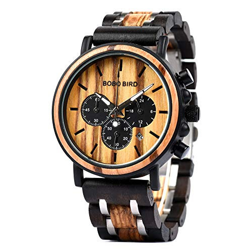 BOBO BIRD Mens Wooden Watches Luxury Lightweight Wood Watch Multi-Functional Display Men's Timepieces