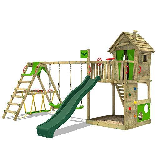 FATMOOSE Spielturm Klettergerüst HappyHome mit Schaukel SurfSwing & grüner Rutsche, Spielhaus mit Sandkasten, Leiter & Spiel-Zubehör