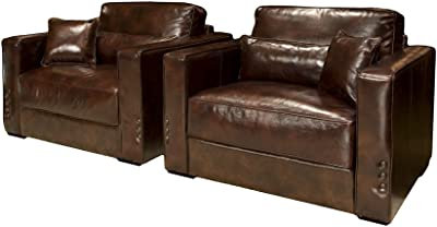 Amazon Com Elements Soho Top Grain Rustic Leather Oversized Accent