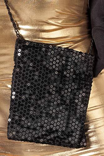 Tasche mit Pailetten Schwarz Disco 80er Jahre Handtasche für Damen Karneval Fasching