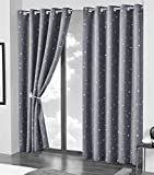 Olivia Rocco Blackout Curtain Pair Glow In The Dark Black Out Curtains Thermal With Eyelets Ring Top Window Treatment Kids Nursery Bedroom, 66 x 54 Grey Stars