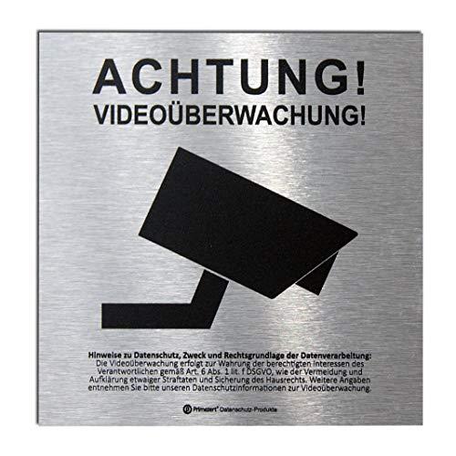 DSGVO+BDSG Datenschutz-Schild ALU Info-Aushang Video-Überwachung 10x10cm Aluminium gebürstet