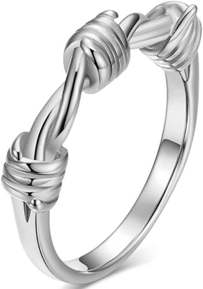Stainless Steel Braided Knot Classic Simple Plain Wedding Band Anniversary Statement Ring