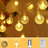 Tasodin 33 FT 80 LED Mini Globe Outdoor String Lights Battery Operated, 8 Modes with Remote Decorative Fairy Lights for Indoor Outdoor Patio Garden, Bedroom, Dorm, Christmas, Party, Warm White