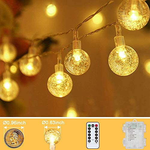 Tasodin33 FT 80 LED Mini Globe Indoor String Lights Battery Operated 8 Modes with Remote Decorative Bedroom Room Dorm Yard , Waterproof Outdoor Patio Garden Home Christmas Party, Warm White