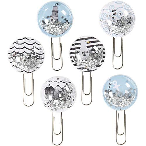 Shaker Clips, D: 25 mm, L 49 mm, Blau, Grau, Weiß, Schwarz, Maritim, 6Stck.