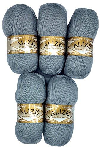 Alize 5 x 100 g Strickwolle mit Mohair, grau Nr. 21 zum Stricken und Häkeln, 500 Gramm Wolle