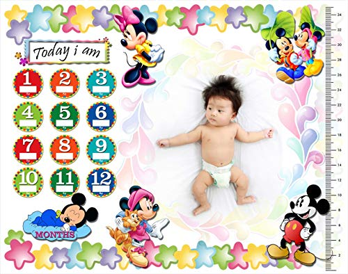 Aanya Prints Baby Monthly Milestone Blanket for Boy or Girl - Forever Loved Baby Growth Chart Picture Blanket with Month Marker - Newborn to 12 Months Milestones, Baby Shower Gift, Multi Colour
