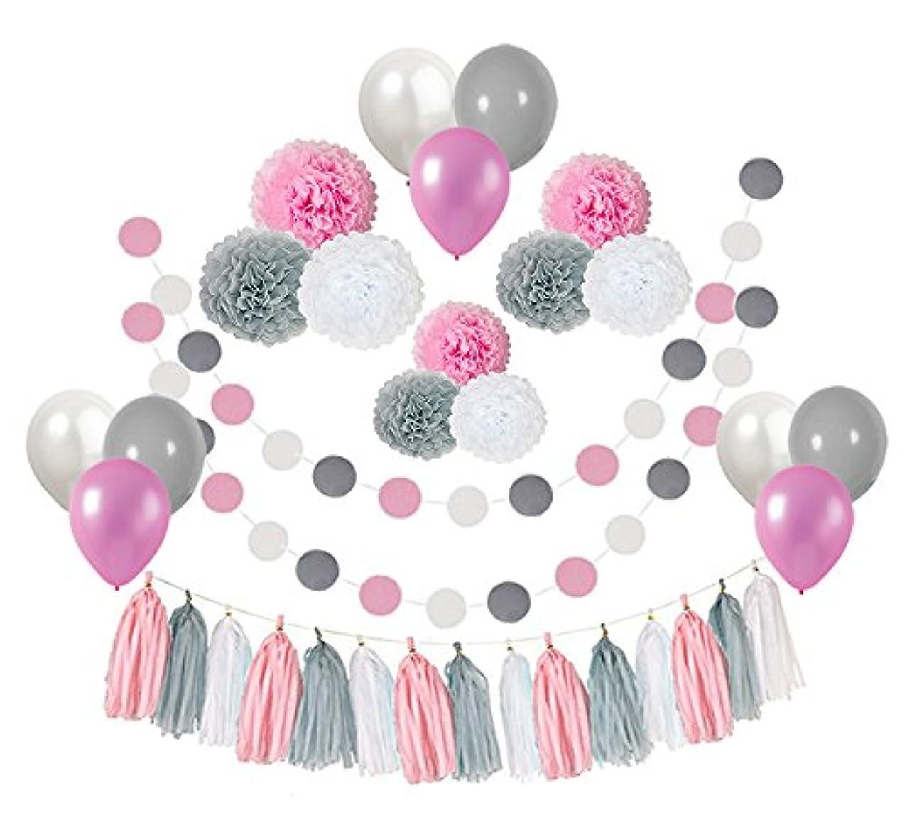 Topfun 35 pcs Baby Girl Shower Decorations Pink Gray White Paper Pom Poms Flowers Tissue Tassel Polka Dot Paper Garland kit with 12