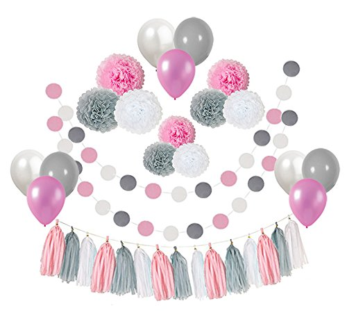Ucity 35 pcs Baby Shower Decorations Pink Gray White Paper Pom Poms Flowers Tissue Tassel Polka Dot Paper Garland kit with 12
