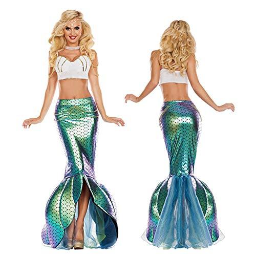 XBYUK Vestido de Sirena Disfraces para Halloween Falda para Halloween Fiesta Noche Navidad Cospalay Falda Cola Sirena Mujeres Vestir Tops, Faldas, cuellos, sombrerosM