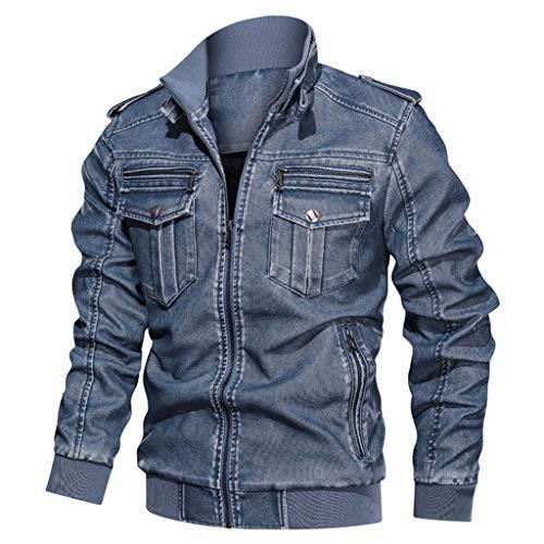 Fenverk Herren Jacken,Herren Herrenbekleidung Jacke Mantel Military Bekleidung Tactical Outwear Atmungsaktiver Mantel Lässige warme Jacke Knopf Herbst Kleidung L-XXXXXXL(C Blau,L)