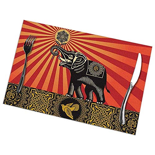 Set De Table Set De 6 Art de tournesol éléphant d'Afrique Art de table rectangulaire Tapis de table résistant à la chaleur 45 X 30 Cm