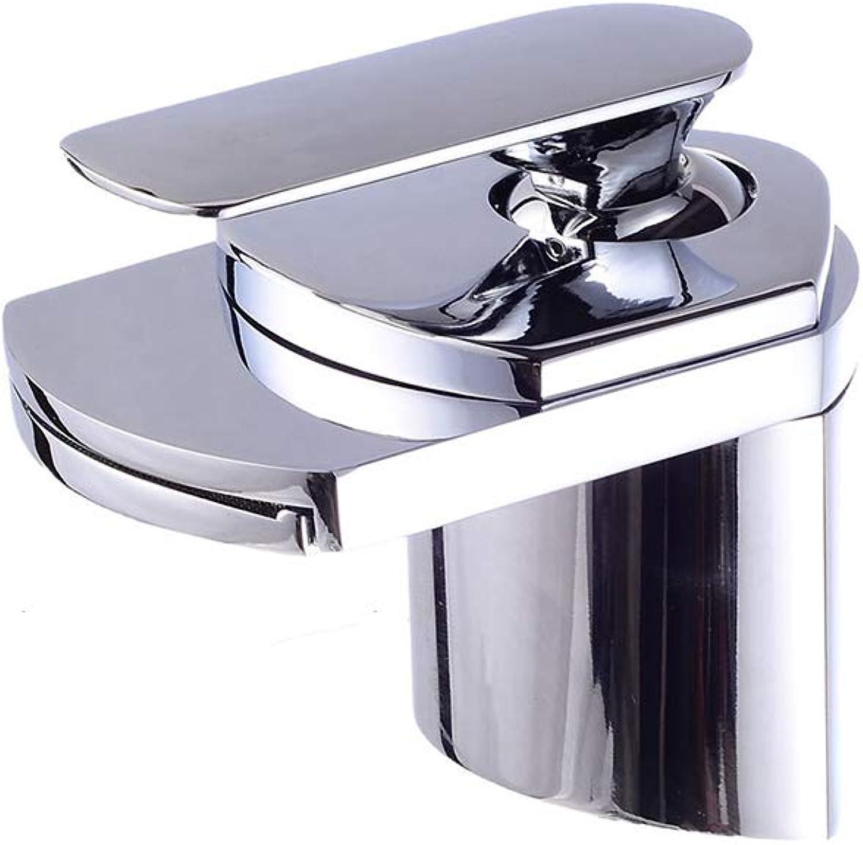 JYTNB Verchromter Badhahn, moderner Wasserfallhebel mit einem Handgriff Bleifrei Massivem Messing Einlochmontage Messing Wasserhahn Bad Waschbecken Waschtisch Toilette Toilette Waschbecken Wasserhahn