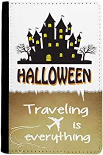 Happy Halloween Horror Castle Traveling quato Passport Holder Travel Wallet Cover Case Card Purse