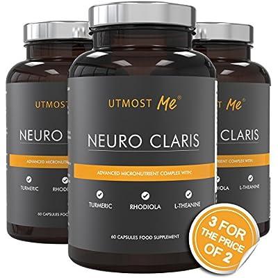 Brain Vitamin Nootropic Supplement – Memory Concentration Focus | Enhance Alpha Brain Waves | L-Tyrosine, Turmeric, Rhodiola | Caffeine Free Cognitive Booster | Neuro Claris by Utmost Me (™)