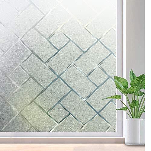 rabbitgoo Fensterfolie Selbsthaftend Selbstklebend Milchglasfolie Anti UV Statish Sichtschutz Sichtschutzfolie Privatsphäre Schutz für Badzimmer Wohnzimmer Schlaffzimmer Geometrie 44.5 x 200CM