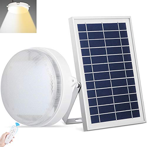 UPONUN Solar Lights Indoor&Outdoor Home 1000Lumen Solar LED Ceiling/Pendant Light with Remote Control, Integrated Cool White/Warm White Switchable Solar Barn Light for Shed, Yard,Patio, Garden, Garage