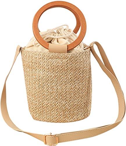 QZUnique Hand-woven Straw Bucket Bag Women Summer Beach Handbag Casual Satchel Retro Top Handle Tote Shoulder Clutch