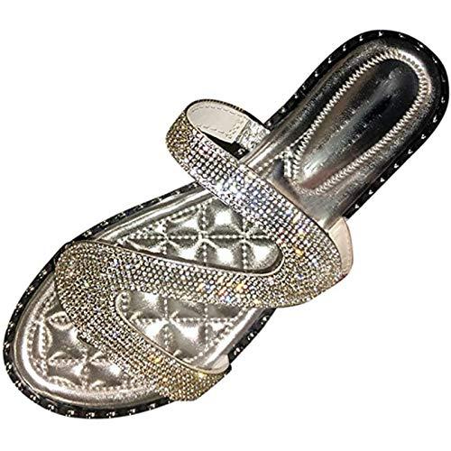 XBXDM Sandalias Planas para Mujer, Moda Mujer con pedrería Sandalias Antideslizantes con Incrustaciones Zapatillas Chanclas Zapatos de Playa y Piscina,Plata,42EU