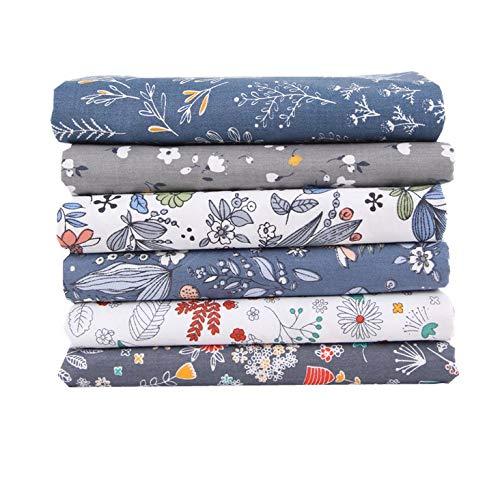 Comius Sharp Tessuto Cotone Stoffa, Tessuto in Cotone, Stoffe per Cucito Creativo per Patchwork, Foderare Cuscini, Vestiti e Cucito (6 Pezzi 40 x 50 cm Blue)