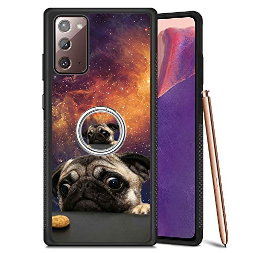 Black Samsung Galaxy Note 20 5G Case with Ring Holder Stand Pug Dog Pattern 360 Rotation Ring Grip Kickstand Soft TPU and PC Anti-Slippery Design Protection Bumper for Samsung Galaxy Note 20 5G