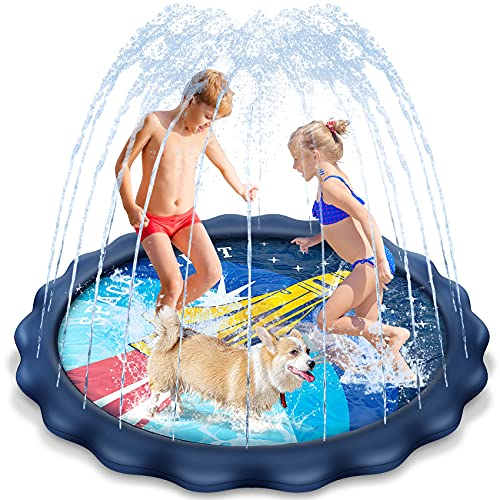 Splash Pad, 68'' Water Toys for Toddlers, Sprinkle Play Mat Inflatable Outdoor Toys, Splash Pad for Kids for Wading and Learning for Baby boys girls Pets Backyard Kiddie Pool for Age 2 3 4 5 6 - 12