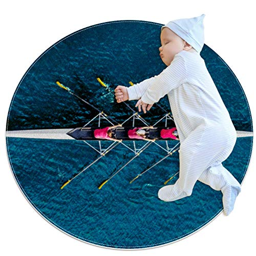 Alfombrilla Redonda Kayak Alfombra Redonda Antideslizante Lavable para Salón Dormitorio o Habitación Infantil 70x70cm