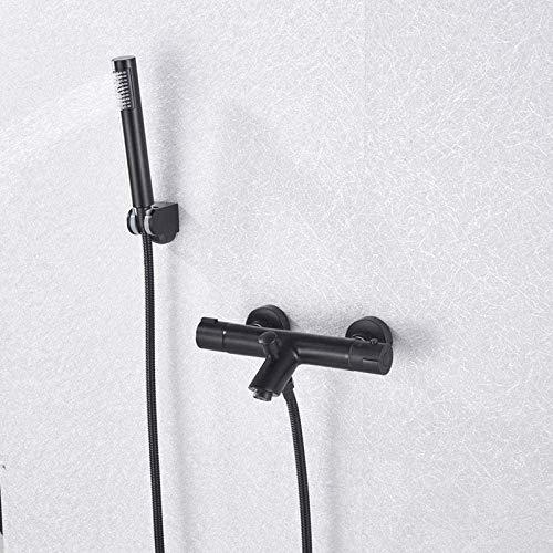 ZFB8B Lavabo Grifo para Lavabo Juego de Ducha de baño Simple termostático Negro Sistemas de Ducha fácil Oculto 1PCS