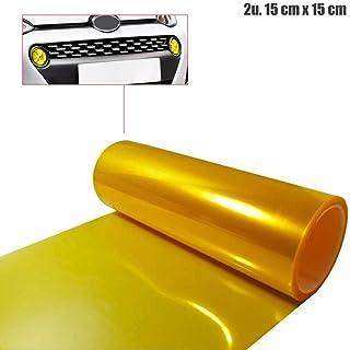 OcioDual 2 x Vinilo Pegatina Lamina TINTAR Faros Color Amarillo ANTINIEBLAS 15 X 15 cm