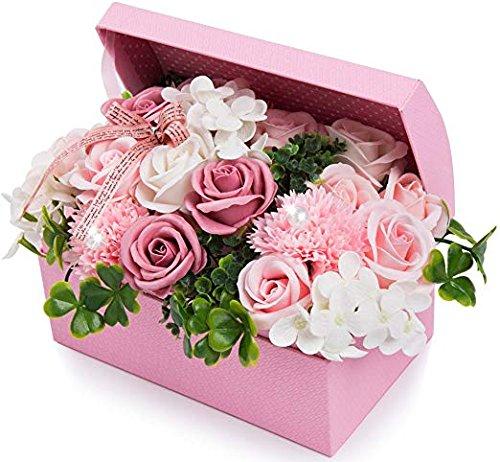 ソープフラワー 創意ジュエリーギフトボックス 誕生日 母の日 記念日 先生の日 バレンタインデー 昇進 転居など最適としてのプレゼント (ピンク)
