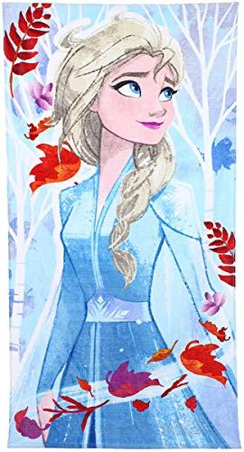 Disney Frozen 2 – Toalla de playa o piscina de Elsa y Anna, de algodón, 70 x 140 cm