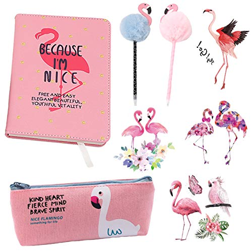 8 Stück Flamingo Schreibwaren-Set, Flamingo Kugelschreiber und Flamingo Notizbuch, Flamingo Federmäppchen, Mädchen Geheime Tagebuch Briefpapier vorhanden,Schul-Briefset für Mädchen, Kinder