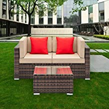 Tenozek Wicker Loveseat, Wicker Corner Patio Furniture, Outdoor Patio Sectional Sofa All-Weather PE Rattan Couch Conversation Chair w/Coffee Table for Backyard, Pool(Brown, 2 Seats + Coffee Table)