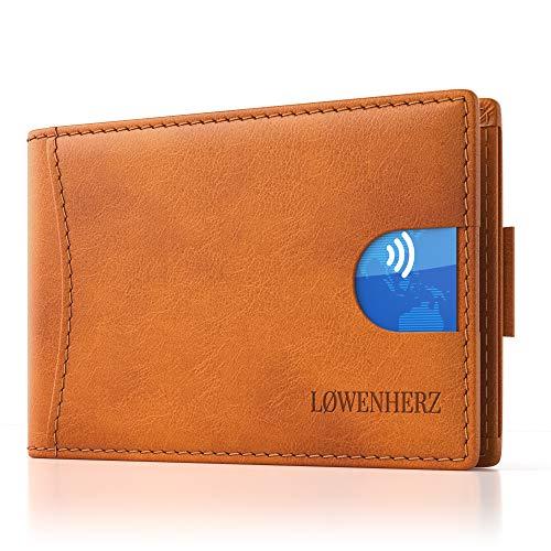 LØWENHERZ Kreditkartenetui Herren — Simba mit Geldklammer und RFID Schutz — Langlebiges Mini Wallet aus Premium Echtleder — 10 Kartenplätze inkl. Pull-Strap in Cognac Braun