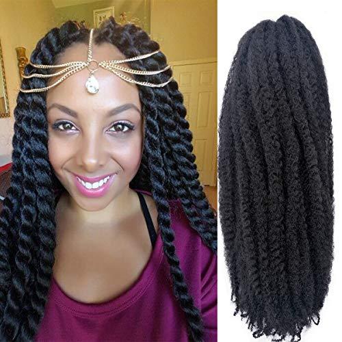 6 Packs Marley Hair Marley Braiding Hair Marley Braid Crochet Hair Long Afro Kinky Curly Hair For Faux Locs or twist Synthetic Fiber Hair Extensions (18 INCH, 1B)
