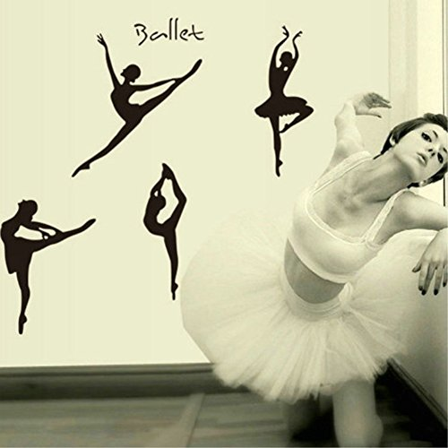 Wallpark Ballet Bailarín Bailarina Silueta Desmontable Pegatinas de Pared Etiqueta de la Pared, Sala Dormitorio Hogar Decorativas Adhesivas DIY Arte Murales